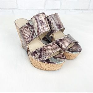 Nine West Snakeskin Larysa Wedge Sandal 7.5